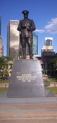 World War 1 Picture - Statue of the Major-General at Post Office Square, Brisbane. (The statue is facing ANZAC Square.)