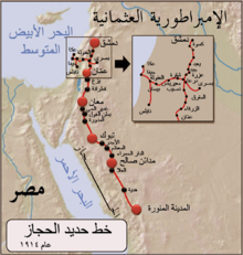 World War 1 Picture - Map of the Hejaz railway (Damascus-Mecca pilgrim route); built at great expense by the Ottoman empire in the early 20th century, but quickly fell into disrepair after the Arab revolt of 1917