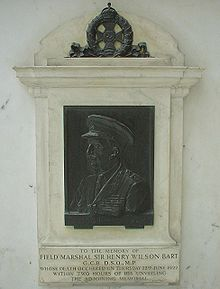 World War 1 Picture - Memorial to Field Marshal Sir Henry Wilson at Liverpool Street Station, London