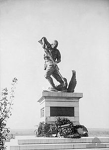 World War 1 Picture - The Mont St. Quentin memorial (c. 1925) commemorates the men of the Australian Imperial Forces (AIF) and their contribution in the battle which was fought in this area.
