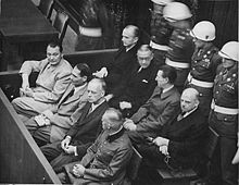 World War 1 Picture - Goring (first row, far left) at the Nuremberg Trials.