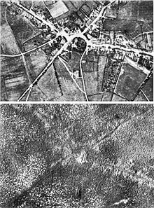 World War 1 Picture - Aerial view of Passchendaele village before and after the battle.