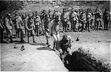 World War 1 Picture - Portuguese troops training with gas masks in the Western Front.