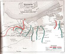 World War 1 Picture - Positions 19th July to 9th August. British lines in red and Ottomans in green