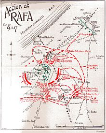 World War 1 Picture - Battle of Rafa Map