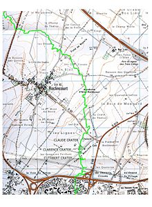 World War 1 Picture - A modern map with the frontline close to Roclincourt highlighted in green.
