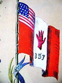 World War 1 Picture - 157th I.D.Red Hand flag [1] drawn by General Mariano Goybet.