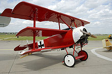 World War 1 Picture - A replica of Manfred von Richthofen's red Fokker Dr.I triplane.