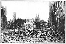 World War 1 Picture - Ruins of Ypres market square.