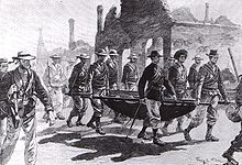 World War 1 Picture - Admiral Seymour returning to Tientsin with wounded men