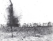 World War 1 Picture - Artillery attack on a field of barbed wire at Vimy Ridge