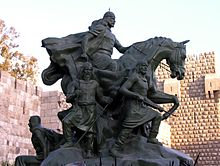 World War 1 Picture - The Statue of Saladin near the Citadel of Damascus.