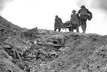 World War 1 Picture - Stretcher bearers recovering wounded during the Battle of Thiepval Ridge, September 1916. Photo by Ernest Brooks.