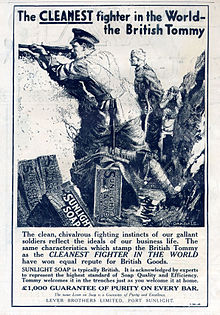 World War 1 Picture - Advertisment for Sunlight Soap in the trenches (1915)
