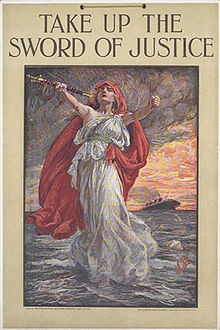World War 1 Picture - Take Up the Sword of Justice, a UK propaganda poster with Lusitania in the background