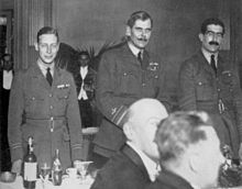 World War 1 Picture - Prince Albert (left) at an RAF dinner in 1919 with Sir Hugh Trenchard (centre) and Christopher Courtney (right)