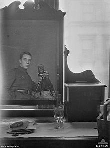 World War 1 Picture - Self portrait of Thomas Baker taken with a Kodak camera using his reflection in a dresser mirror