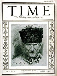 World War 1 Picture - TIME 24 March 1923. Ataturk, the title reads 'Where is a Turk his own master?'
