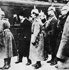 World War 1 Picture - Leon Trotsky being greeted by German officers in Brest-Litovsk