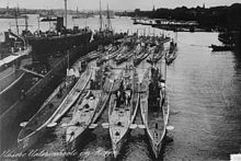 World War 1 Picture - U-20 and sister ships in harbour at Kiel