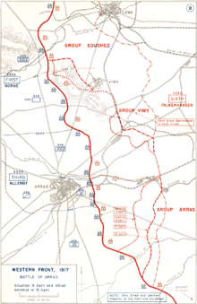 World War 1 Picture - Frontlines at Arras immediately prior to the assault