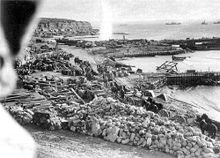 World War 1 Picture - W Beach, Helles, on 7 January 1916 just prior to the final evacuation