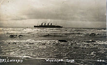 World War 1 Picture - Lusitania entering the River Mersey, bound for Liverpool - her intended destination. Postcard photo taken from Waterloo, near Liverpool in 1908.