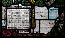 World War 1 Picture - Stained glass window by Harry Clarke in Wexford dedicated to the memory of Lt William Henry O'Keefe who was killed in action.[45]