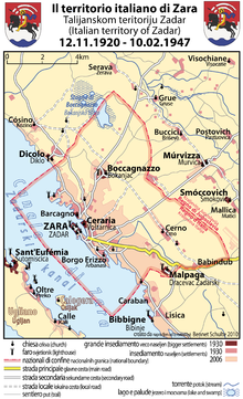 World War 1 Picture - Map of the Italian territory of Zara, 1920-1947