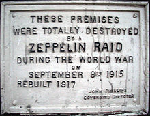 World War 1 Picture - A plaque, (located on 61 Farringdon Road, London), commemorating a World War I Zeppelin raid on London.