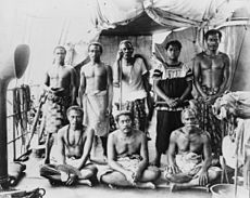 World War 1 Picture - Exiled group aboard German warship taking them to Saipan. Standing 3rd from the left is Lauaki Namulauulu Mamoe, 1909.