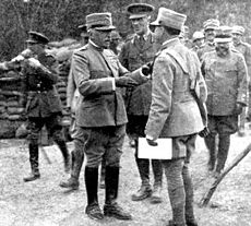 World War 1 Picture - General Cadorna visiting British batteries during World War I.
