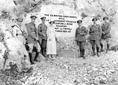 World War 1 Picture - General Sir Harry and Lady Chauvel (third and fourth from left) at Dog River, Lebanon, near the stone tablet recording the occupation of Beirut and Tripoli