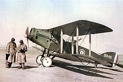 World War 1 Picture - A Bristol F.2B Fighter of No. 1 Squadron, Australian Flying Corps, in Palestine, February 1918. The pilot (left) is Captain Ross Macpherson Smith, who in 1919 was part of the crew that set the record for flying from England to Australia.