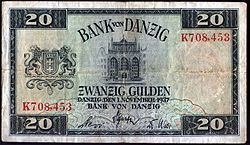 World War 1 Picture - A 20 Danzig gulden note