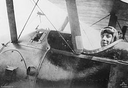 World War 1 Picture - Captain Thomas Baker seated in the cockpit of a Sopwith Camel