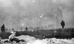 World War 1 Picture - British infantry advancing through gas at Loos, 25 September 1915
