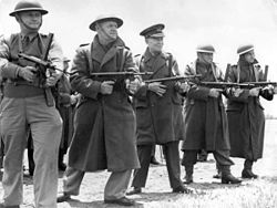 World War 1 Picture - General Sir Harry Chauvel (centre) with a group of officers for practice with Owen guns
