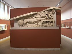 World War 1 Picture - A relief of Dionysus Bacchus at the Corfu Museum.