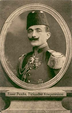 World War 1 Picture - Enver Pasha, depicted on a First World War German postcard.