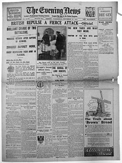World War 1 Picture - Evening News cover, 19 November. It recounts the