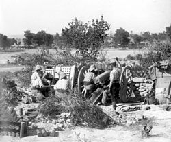 World War 1 Picture - French Colonial 75-mm gun in action near Sedd el Bahr.