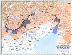 World War 1 Picture - Italian Front in 1915-1917: eleven Battles of the Isonzo and Asiago offensive. In blue, initial Italian conquests.