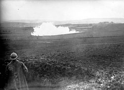 World War 1 Picture - Explosion of a mine seen from a French position. 1916
