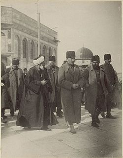 World War 1 Picture - Enver Pasha, middle, accompanied by Djemal Pasha (right), in a visit to Jerusalem, following the end of the Gallipoli campaign.