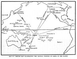 World War 1 Picture - 1934 Sketch map showing the central position of the Samoa Islands in the Pacific.