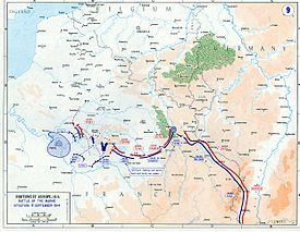 World War 1 Picture - Map of the First Battle of the Marne