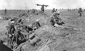 World War 1 Picture - British infantry advance near Gingy. Photo by Ernest Brooks.