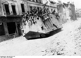 World War 1 Picture - German tank in Roye, 21 March 1918