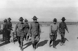 World War 1 Picture - General Pershing and General Bliss inspecting the camp, with Colonel Winn, Commander of the 24th Infantry during Punitive Expedition into Mexico